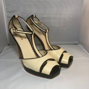 Bebe T-Strap Peep Toe Leather Heels- Black/Cream 8